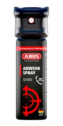ABUS Abwehrspray SDS80 Pfefferspray zur Selbstverteidigung - Jet-Sprühstrahl - 5 Meter Reichweite - KO Spray - 78094