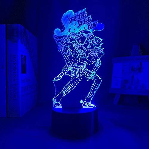 Lámpara de noche 3D de anime ilusión de Jojos Bizarres Aventura Anime Carácter LED lámpara de noche –7 colores regulables –Decoración de dormitorio lámpara de mesa –Niños Navidad regalo de cumpleaños