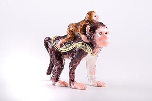 Dos monos–Cajita de Faberge Estilo Decorado con cristales de Swarovski única decoración...
