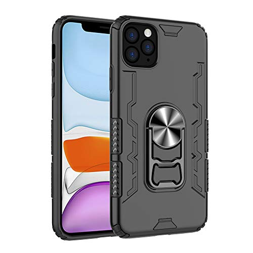 KMOABOE Compatible iPhone 11 Ring Kickstand Case-Ultra Rugged Shockproof Protection-Beers Bottle Opener-Magnetic Mount-Full Body Protection for Your Phone (Black, 6.1')