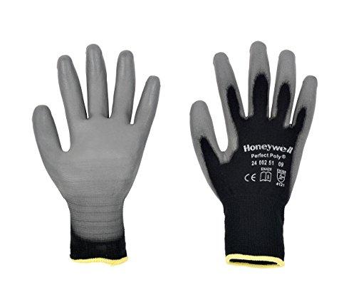 Honeywell 2400251–09perfekt Poly schwarz General Handhabung Handschuhe, feine Handhabung in trockenen Umwelt, EN 3884121–Stück Größe 9(10Paar), 11, Schwarz, 10