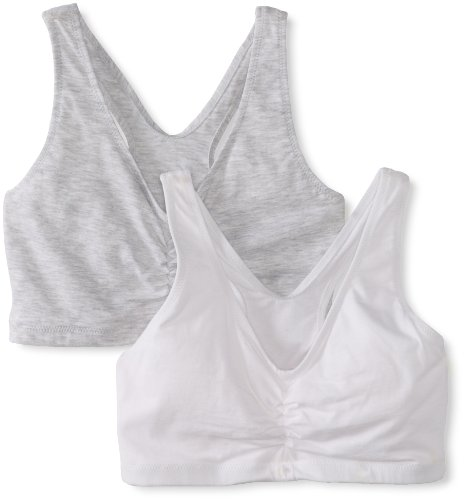 Hanes Women's Comfort-Blend Flex Fit Pullover Bra (Pack of 2),Heather Grey/White,XXX-Large