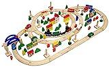 messefix Holzeisenbahn Set Spielzeug-Eisenbahn 5m Holzbahn Kinder-Bahn Zug Spiel-Set Holz