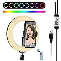 KMLPJP 電話クランプを有する湾曲ライトリングVlogging自分撮り写真ビデオライトをLED 7.9インチ20センチメートルのUSB RGB調光LEDデュアル色温度(ブラック) (Color : Black)
