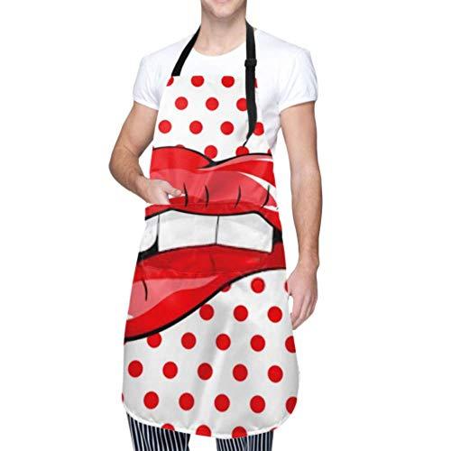 SUUJ Unisex Schürze, wasserdicht langlebig verstellbar beißen ihre roten Lippen Zähne Pop Kochschürzen Schwarze Schürze zum Geschirrspülen BBQ Grill Restaurant Garden