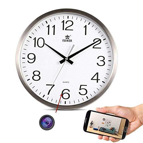 GEQWE Mini Cámara WiFi 1080P HD, Cámara De Reloj con Lente Invisible, Cámara De Seguridad Nanny CAM con Detección De Movimiento, Batería Recargable De 2000 Mah