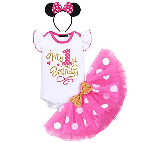FYMNSI Baby Mädchen Mein 1. Geburtstag Outfit Minnie Maus Kostüm Gepunktet Tütü Rock Baumwolle Kurzarm Body Strampler mit Ohr Stirnband 3tlg Bekleidungsset Fotoshooting Rose 1 Jahr