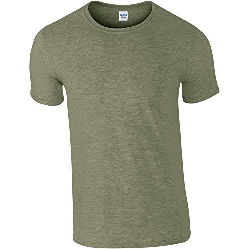 Gildan - Suave básica Camiseta de Manga Corta para Hombre - 100% algodón Gordo (L) (Verde Militar Jaspeado)