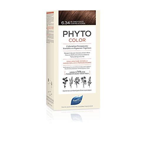 Phyto Phytocolor 6.34 Biondo Scuro Ramato Intenso, Colorazione Permanente a Base di Pigmenti Vegetali, Senza Ammoniaca, 100% Copertura Capelli Bianchi, Colore Intenso, Luminoso, Naturale, Lunga Durata