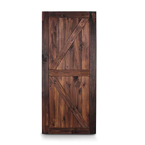 "BELLEZE 36"" x 84"" Unfinished Sliding Barn Door Solid Knotty Pine Wood DIY K-Frame Double Side Single Door, Espresso"