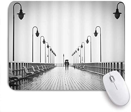 Maus Matte Mauspad Brücke Regenschirm Paar Silhouette Bank Straßenlaterne grau maßgeschneiderte Kunst Mousepad rutschfeste Gummibasis für Computer Laptop Schreibtisch Zubehör