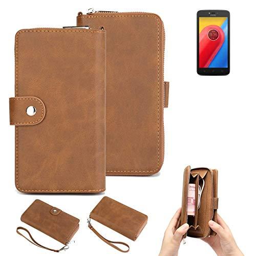 K-S-Trade Handy-Schutz-Hülle Für Lenovo Moto C LTE Portemonnee Tasche Wallet-Hülle Bookstyle-Etui Braun (1x)