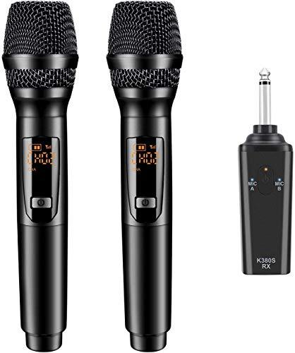 Kabelloses Mikrofon, Gifort Mikrofon 10 Kanal UHF Funkmikrofon Handheld Dynamisches Mikrofone mit Mini Empfänger, für Haushalt/Karaoke/Geschäftstreffen/PC (Batterie eingeschlossen)