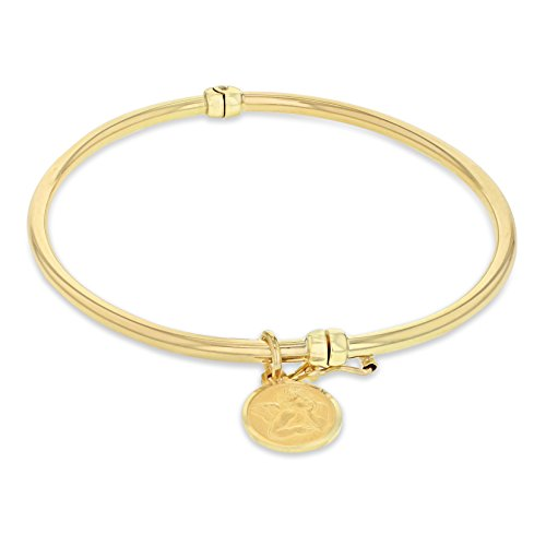 Carissima Gold 9ct Yellow Gold Round Angel Charm Bangle