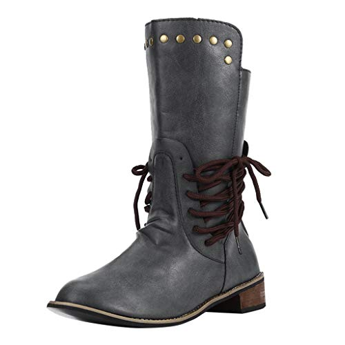 Review Women's Wide Mid-Calf Boots,Ladies Strappy Lace-up Round Toe Mid Heel Boot Winter Leather Rom...