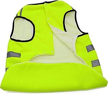 Bwiv Gilets de Sécurité Manteau pour Chien Réfléchissant Épaississant en Tissu Confortable Le Col Elastique Vert Jaune 5XL (Longueur du Dos 70cm, Poitrine 80-90cm)
