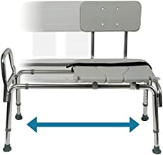 Tub Transfer Bench and Sliding Shower Chair Made of Heavy Duty Non Slip Aluminum Body and Seat with Adjustable Seat Height and Cut Out Access Holding Weight Capacity up to 400 lbs, Gray