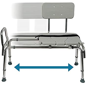 DMI Tub Transfer Bench and Shower Chair with Non Slip Aluminum Body Adjustable Seat Height and Cut Out Access Holds Weight up to 400 Lbs Bath and Shower Safety Transfer Bench