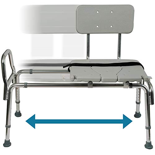 Tub Transfer Bench and Sliding Shower Chair Made of Heavy Duty Non Slip Aluminum Body and Seat with...