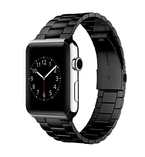 Herrlich Armband kompatibel mit Apple Watch 38mm/44mm Prämie Edelstahl Metall Ersatz Armband kompatibel mit iWatch/Series SE/6/5/4/3/2/1 (42/44, Schwarz)