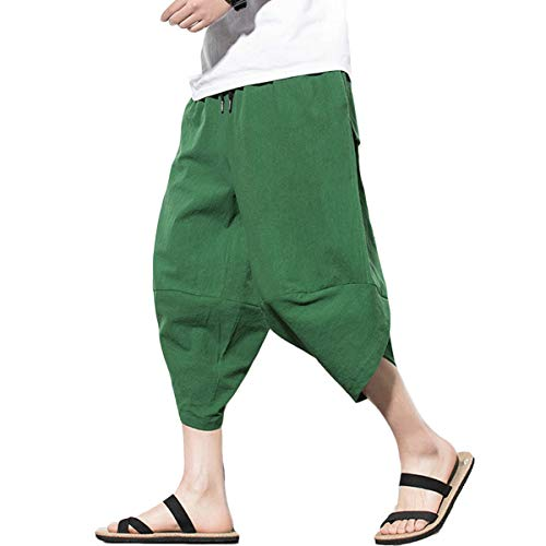 FTIMILD Mens Casual Linen Pants Lightweight Baggy Beach Yoga Wide Leg Pants Trousers Green