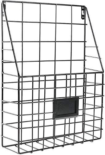 LIXFL Marco de Archivo Simple Hierro Montaje de Pared Almacenamiento Rack Cesta Metal Muro Colgante Mostrando Marco de Mesa Escritorio de Oficina Marco,Black