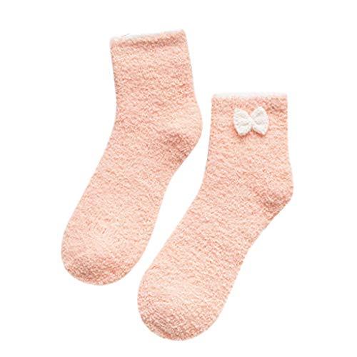 Wyongtao Calcetines para mujer, talla grande, muy suaves y cálidos, con lazo, forrados con forro polar, color rosa, 1 par