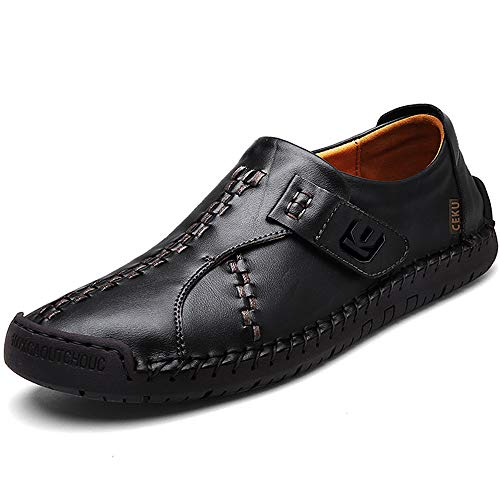 CEKU Men s Driving Causal Loafers Slip on Leather Handmade Flats Classic Comfortable Oxford Walking Shoes Black 11.5 D(M) US/47