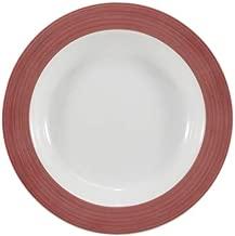 Estojo com 6 pratos fundos. Modelo redondo cilíndrica. Decoração pintura a mão vermelho. Fabricado pela porcelana schmidt.