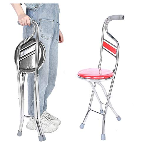 Perportu-min Portable Folding Walking Stick with Seat Four Legged Portable Travel Hiking Cane Chair Stool Eldely Medical Mobility Aid 1FNVSGYO-02-27 (Color : Red)