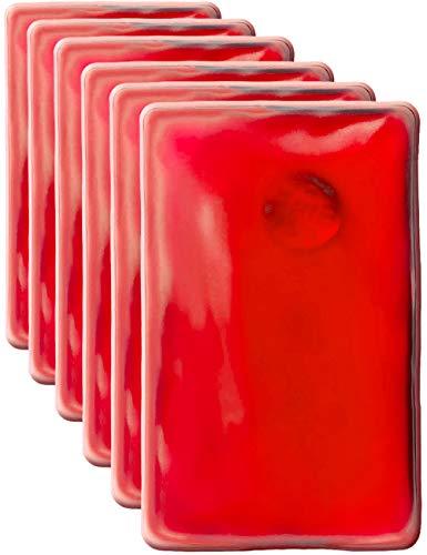 HomeTools.eu® - 6 cuscini termici, scaldamani in gel, scaldamani, auto-riscaldanti, a lunga durata, riutilizzabili, 10 x 6,5 cm, rosso, set da 6 pezzi