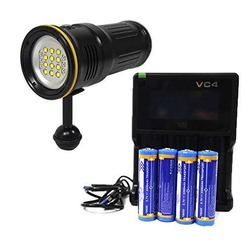 MTGJFDDFO Buceo LED FOTOGRAFÍA Light 6000 LUMENS CRI90 Cámara bajo el Agua Cámara de alojamiento Utilice la luz de Foco Rojo a Prueba de Agua 100m (Color : Combo Kit)