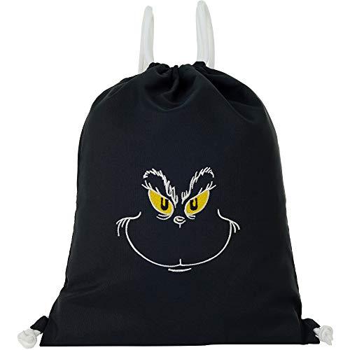 Bolsa de deporte impermeable negra con motivo Grinch Gym Bag Hipster bolsa resistente hombre hombre / mujer bolsa de deporte mochila mujer adolescente anti Navidad Streetwear regalo divertido