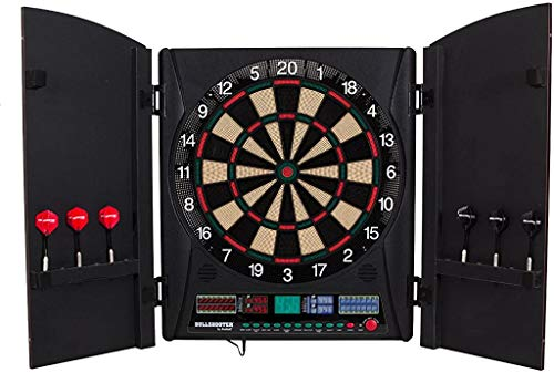 Arachnid Bullshooter Marauder 5.0 Electronic Soft Tip Dartboard Cabinet Set with Integrated Wood Doors Ideal for Any Game Room
