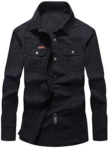 Heren Lente Herfst Pocket Lapel Lange Mouw Katoen Werkkleding Shirt Groot en Tall