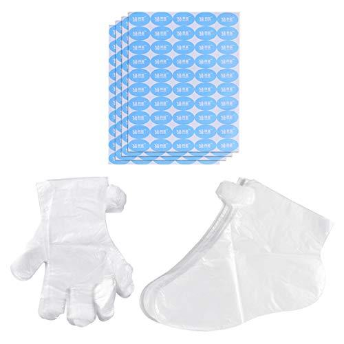 Lurrose 600 Stücke PE Handschuhe Folienhandschuhe Dieselhandschuhe Einweghandschuhe Pediküre Paraffinwachs Paraffinbad Handschuhe Füßlinge für Hand und Fuß Thermotherapie
