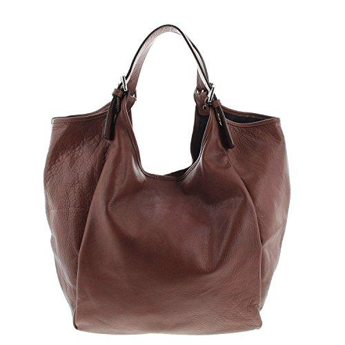 IO.IO.MIO echt Leder Tasche Shopper Beuteltasche Handtasche oder Schultertasche für Damen Frauen Handtaschen Taschen groß braun