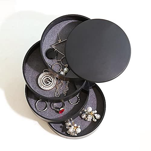 Aloces Portagioie a forma rotonda, 4 strati, girevole a 360°, colore nero, portatile, cilindrico, per anelli, orecchini, collane, ragazze e donne
