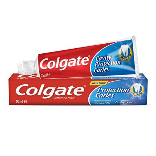 Colgate Protección Caries Pasta de dientes, Flúor Activo y Calcio Líquido, Sabor Tradicional, 75ml