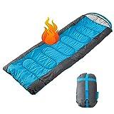 DaiWeier 2 en 1 Saco de Dormir Rectangulares Momia Impermeable con Bolsa de Plegable Almacenamiento Compresión para Invierno Todas Las Estaciones Portátil Fácil de Llevar, 1500g
