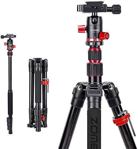 ZOMEI M5 Kamera Stativ Einbeinstativ, 138cm Handy Stativ, Kompakt Aluminiumlegierung Reisestativ mit Handy Halterung, Kugelkopf und Stativtasche