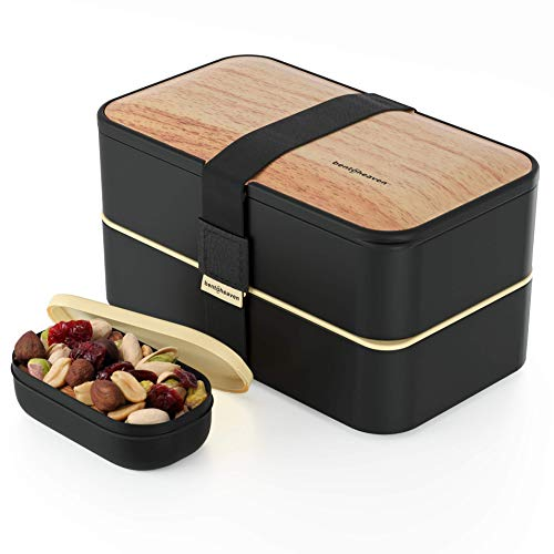 Premium Bento Lunch Box in 8 Modern Colors - 2 Compartments, Leak-proof - Includes Sauce Cup, Divider, Cutlery & Chopsticks - 40oz Japanese Bento Box for Adults & Kids - Zero Waste & Food-Safe