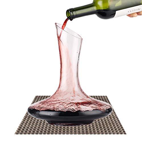 Decanter per Vino,BOQO Caraffa di Cristallo 100% senza Piombo - Aeratore Decantatore per Rosso - 1800ML