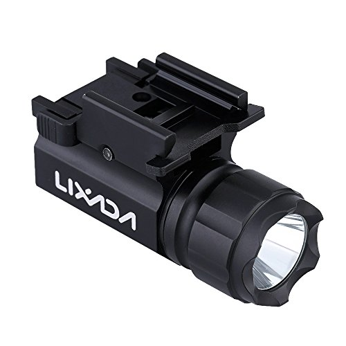 Lixada LED Tactical Gun Flashlight 600LM 2-Mode Handgun Torch Light Rail Mounted Pistol Light