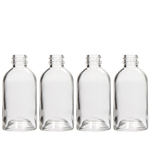 Hosley Set of 4 Diffuser Boston Round Style Glass Diffuser Bottles 85 Milliliter (Bottles Only) Great for Storing Essential Oils Do it Yourself Diffusers Craft Projects Wedding Party O6