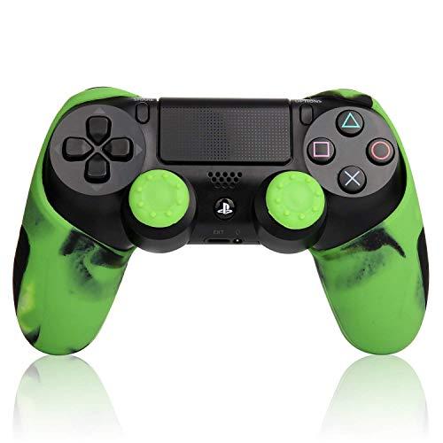 PS4 コントローラーカバー ハンドル帽付 グリップ ケース プレステ4 迷彩カラー グリーン Playstation4 シリコンカバー スキン