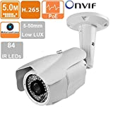License Plate Recognition IP Camera 5MP 5-50mm Motorized Lens 84 IR LEDs