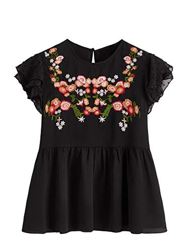 Floerns Women's Floral Embroidered Ruffle Sleeve Peplum Blouse Top Black S