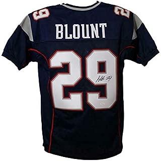 Legarrette Blount Autographed New England Patriots Blue XL Jersey JSA