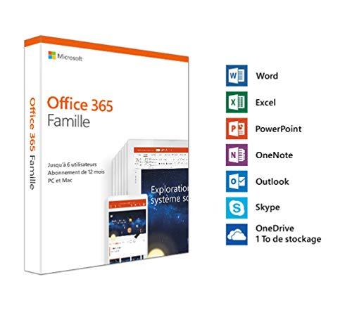 Microsoft Office 365 Famille | jusqu'à 6 utilisateurs | 1 an | PC ou Mac | téléchargement (envoi par la poste)
